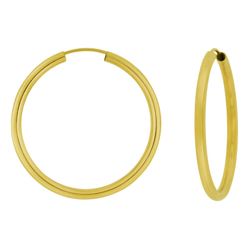 14k Yellow Gold, Hollow 2.5mm Tube Circular Hoop Earring 35mm Diameter Endless Clasp (E059-006)