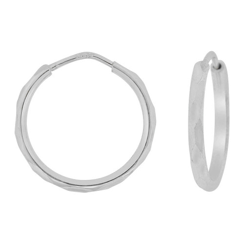 14k Gold White Rhodium, 1.5mm Facetted Hollow Tube Circular Hoop Earring 15mm Diameter (E067-051)