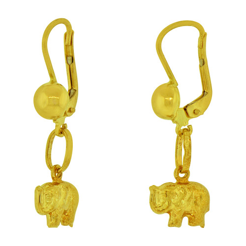 14k Yellow Gold, Dangling Lucky Elephant Earring Secure Clasps (E078-008)