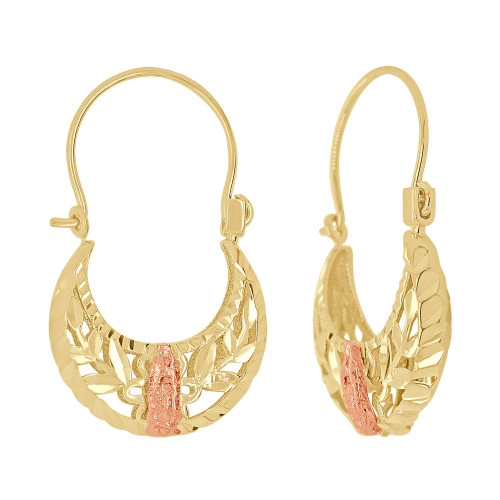14k Yellow & Rose Gold, Filigree Basket Earring Virgin Mary Religious Hoop Earring 16mm Wide (E079-027)