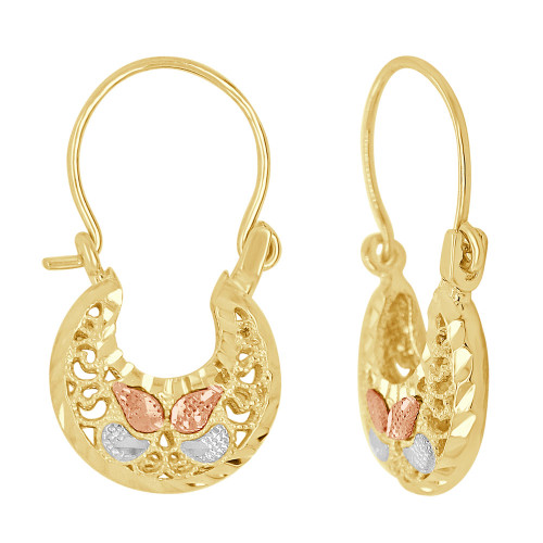 14k Tricolor Gold, Small Filigree Basket Earring Hoop Earring 16mm Wide (E079-029)