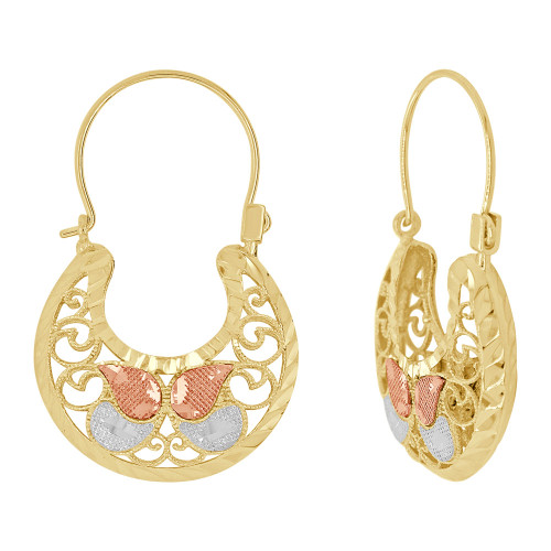14k Tricolor Gold, Filigree Basket Earring Hoop Earring 20mm Wide (E079-031)