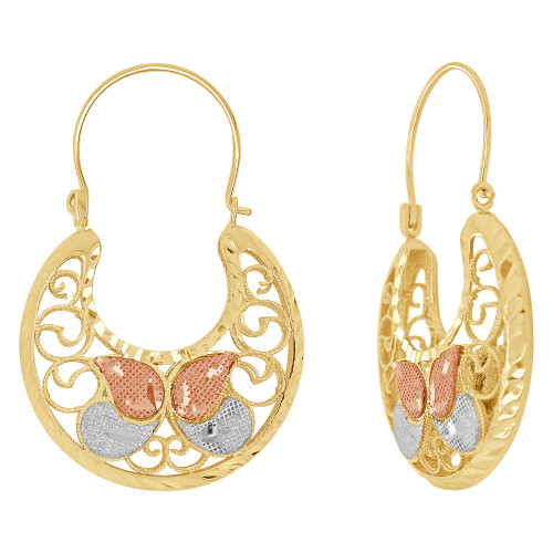14k Tricolor Gold, Filigree Basket Earring Hoop Earring 25mm Wide (E079-032)