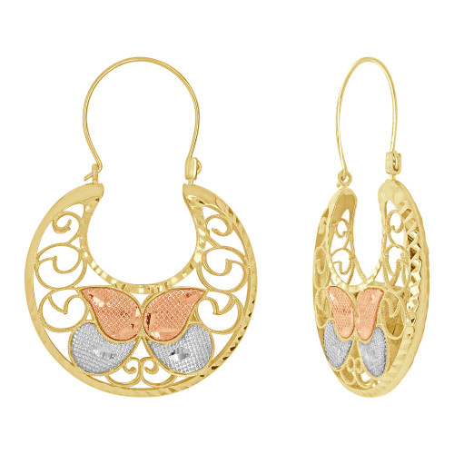 14k Tricolor Gold, Filigree Basket Earring Hoop Earring 34mm Wide (E079-033)
