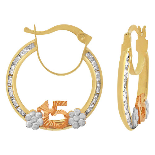 14k Tricolor Gold, 15 Anos Quinceanera Hollow Tube Hoop Earring Created CZ Crystals 20mm Diameter (E084-101)
