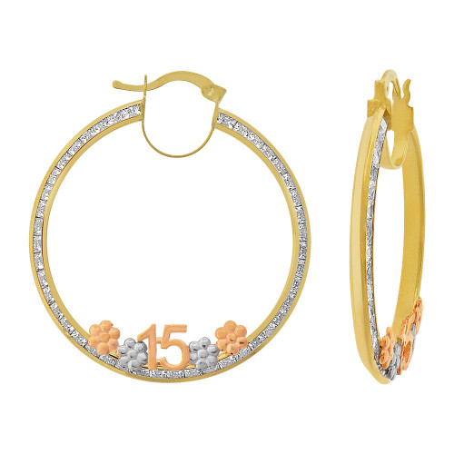 14k Tricolor Gold, 15 Anos Quinceanera Hollow Tube Hoop Earring Created CZ Crystals 30mm Diameter (E084-102)