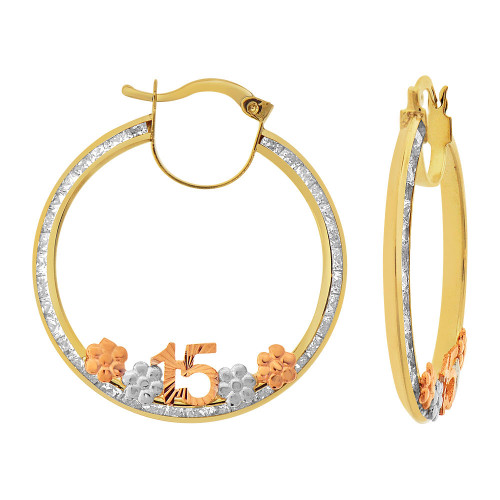 14k Tricolor Gold, 15 Anos Quinceanera Hollow Tube Hoop Earring Created CZ Crystals 35mm Diameter (E084-103)