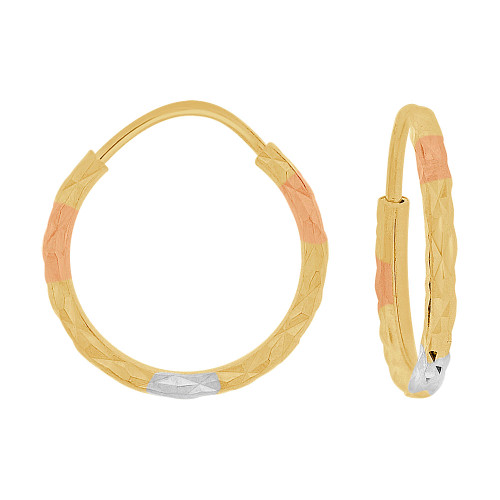 14k Yellow Gold Rose & White Rhodium, Facetted Hollow Tube Hoop Earring 15mm Diameter (E086-009)