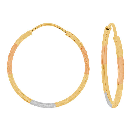 14k Yellow Gold Rose & White Rhodium, Facetted Hollow Tube Hoop Earring 24mm Diameter (E086-010)