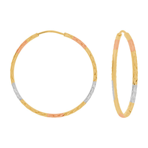 14k Yellow Gold Rose & White Rhodium, Facetted Hollow Tube Hoop Earring 35mm Diameter (E086-012)