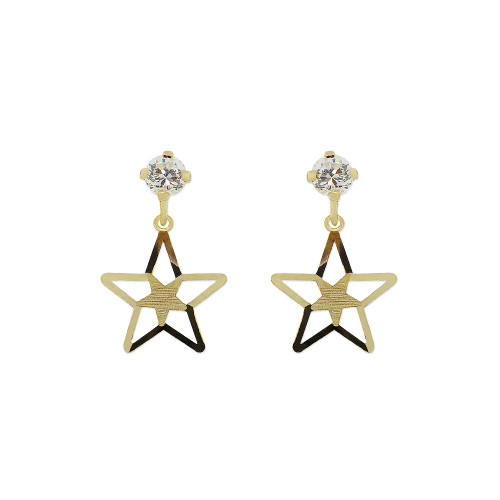 14k Yellow Gold, Star Dangling Stud Screw Back Earring Created CZ Crystals (E107-016)