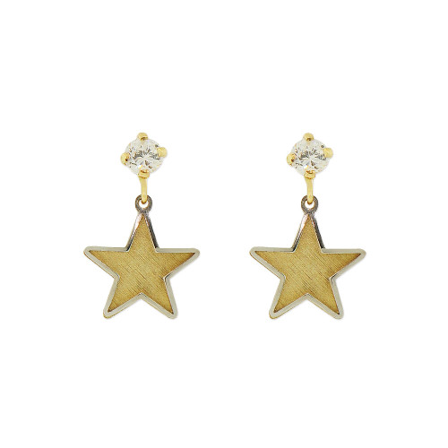 14k Yellow and White Gold, Star Dangling Stud Screw Back Earring Created CZ Crystals (E107-017)