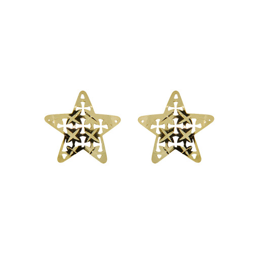 14k Yellow Gold, Star Stud Earring Screw Back Sparkling Diacut (E107-018)