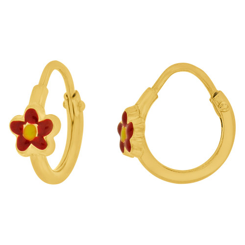 14k Yellow Gold, Mini Hoop Earring Flower Red Enamel Overlay Endless Clasps 13mm Diameter (E107-101)