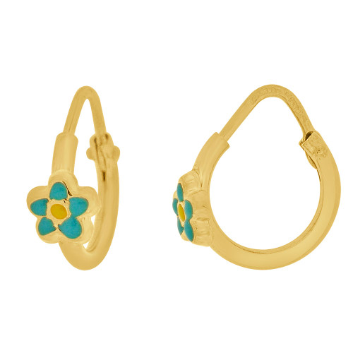 14k Yellow Gold, Mini Hoop Earring Flower Aqua Blue Enamel Overlay Endless Clasps 13mm Diameter (E107-102)