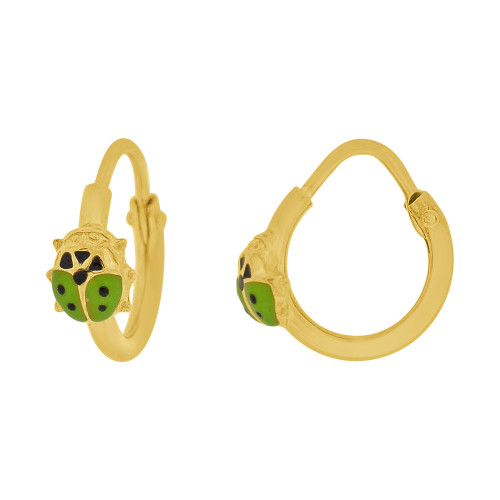 14k Yellow Gold, Mini Hoop Earring Ladybug Green Enamel Overlay Endless Clasps 13mm Diameter (E107-112)
