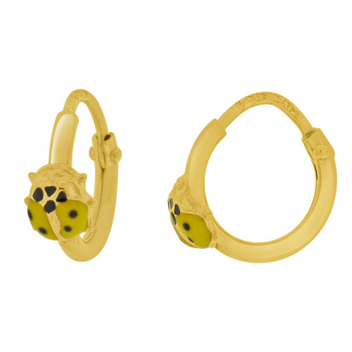 14k Yellow Gold, Mini Hoop Earring Ladybug Yellow Enamel Overlay Endless Clasps 13mm Diameter (E107-113)