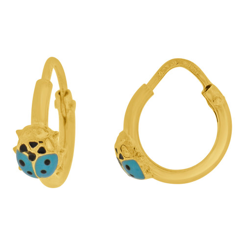 14k Yellow Gold, Mini Hoop Earring Ladybug Blue Enamel Overlay Endless Clasps 13mm Diameter (E107-114)