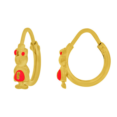 14k Yellow Gold, Mini Hoop Earring Girl Red Enamel Overlay Endless Clasps 13mm Diameter (E107-122)