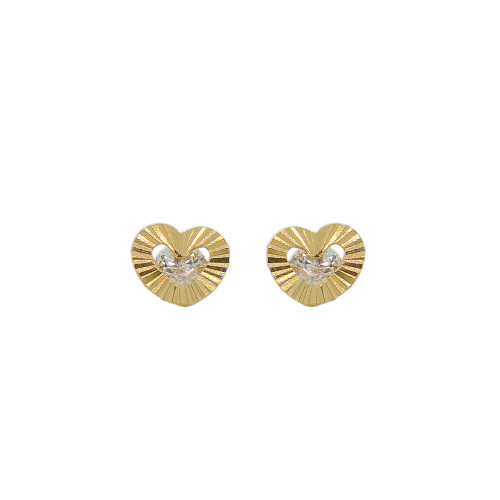 14k Yellow Gold, Mini Size Heart Stud Screw Back Earring Created CZ Crystals (E111-008)