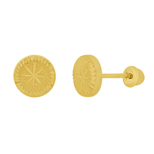 14k Yellow Gold, Mini Round Disk Stud Screw Back Earring 5.5mm Diameter (E111-011)