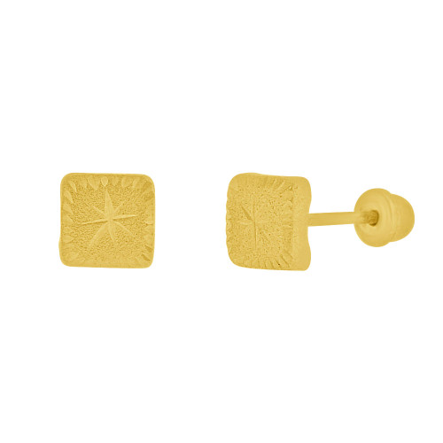 14k Yellow Gold, Mini Square Stud Screw Back Earring 4.5mm Wide (E111-012)