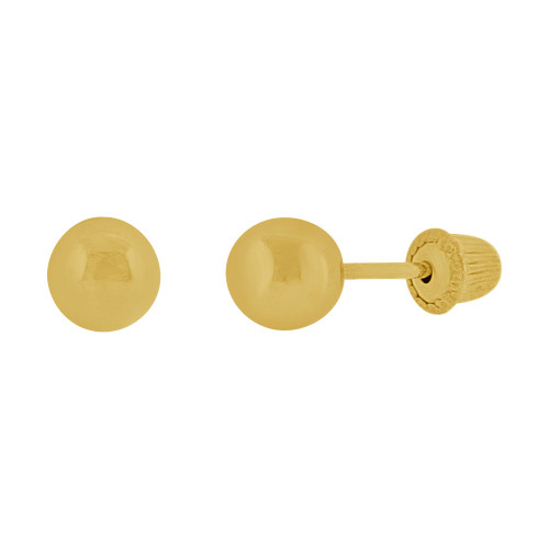 14k Yellow Gold, Plain Ball Bead Stud Screw Back Earring 3.5mm Diameter (E111-014)