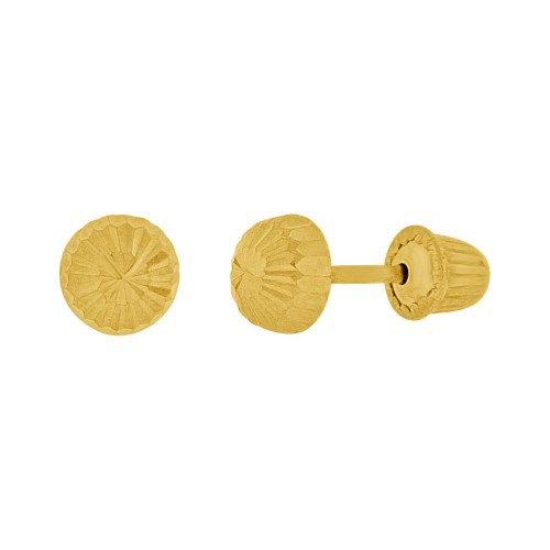 14k Yellow Gold, 4mm Facetted Half Dome Stud Screw Back Earring (E111-017)