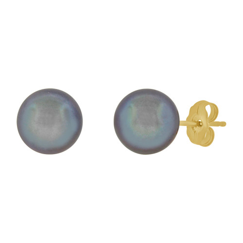 14k Yellow Gold, Fresh Water Round Grey Pearl Stud Earring Push Back 7.5mm Diameter (E111-054)