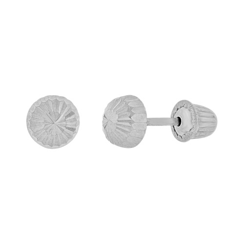 14k Gold White Rhodium, 4mm Facetted Half Dome Stud Screw Back Earring (E111-067)