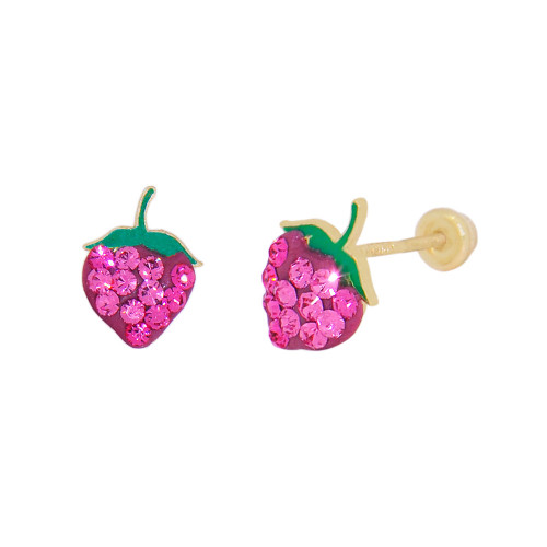14k Yellow Gold, Red Green Enamel Resin Mini Strawberry Stud Screw Back Earring Created CZ (E112-021)
