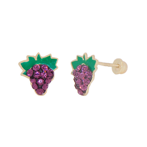 14k Yellow Gold, Purple Green Enamel Resin Mini Grape Stud Screw Back Earring Created CZ (E112-022)