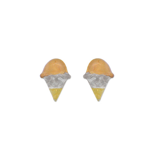 14k Yellow Gold, Ice Cream Cone Stud Screw Back Earring (E114-020)