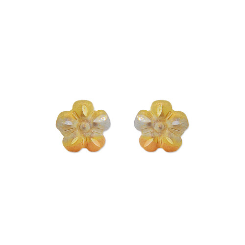 14k Yellow Gold, Mini Flower Stud Screw Back Earring (E115-020)