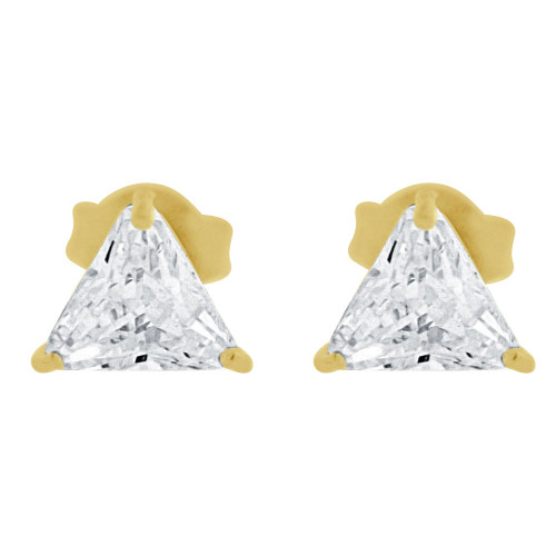 14k Yellow Gold, Trillion Triangle 4.5mm Stud Earring Created CZ Crystals Push Back (E125-001)