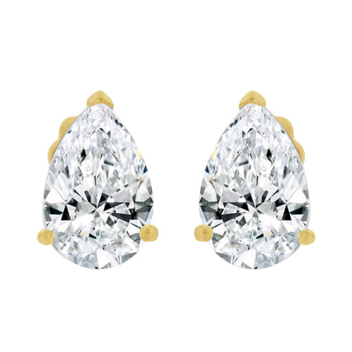 14k Yellow Gold, Pear Teardrop Shape 4mm Stud Earring Created CZ Crystals (E125-005)