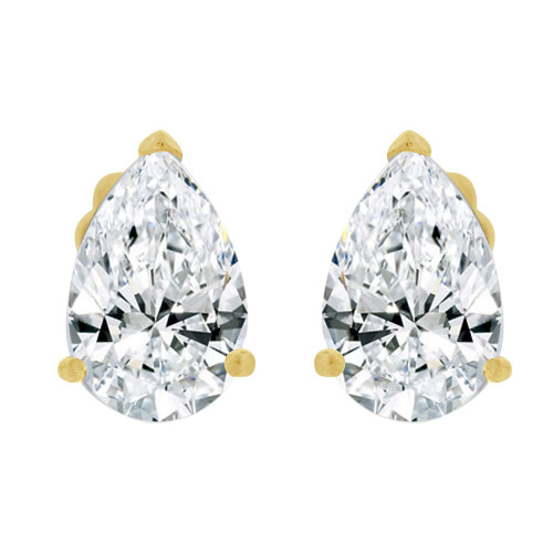 14k Yellow Gold, Pear Teardrop Shape 5mm Stud Earring Created CZ Crystals (E125-006)
