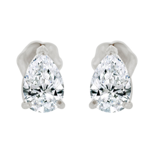 14k Gold White Rhodium, Pear Teardrop Shape 4mm Stud Earring Created CZ Crystals (E125-007)