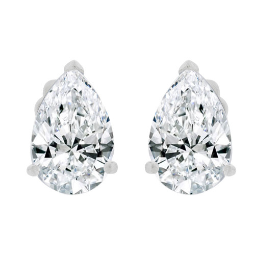 14k Gold White Rhodium, Pear Teardrop Shape 5.5mm Stud Earring Created CZ Crystals (E125-008)