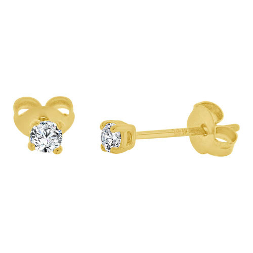 14k Yellow Gold, Round 2mm Stud Earring Created CZ Crystals (E126-001)