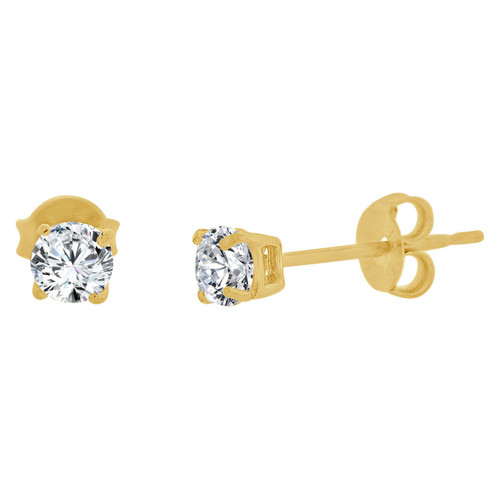 14k Yellow Gold, Round 3mm Stud Earring Created CZ Crystals (E126-002)
