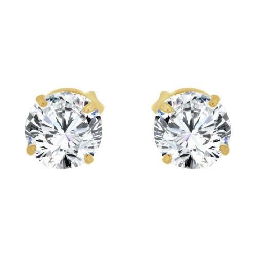 14k Yellow Gold, Round 4mm Stud Earring Created CZ Crystals (E126-003)