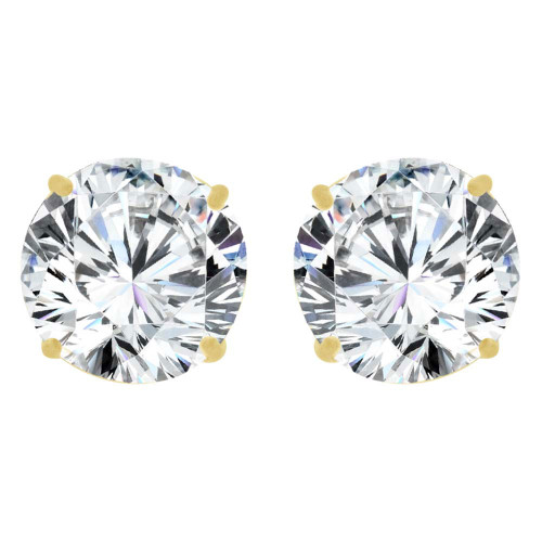 14k Yellow Gold, Round 5mm Stud Earring Created CZ Crystals (E126-004)