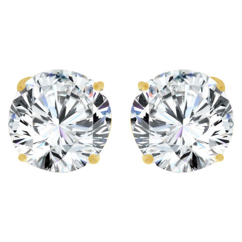 14k Yellow Gold, Round 6mm Stud Earring Created CZ Crystals (E126-005)