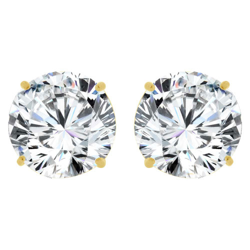 14k Yellow Gold, Round 8mm Stud Earring Created CZ Crystals (E126-008)