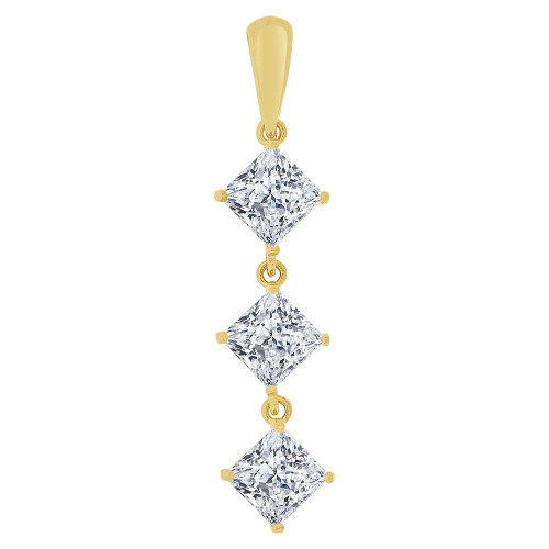 14k Yellow Gold, Three Princess Cut Created CZ Crystals Dangling Pendant 6mm Wide (E126-016)