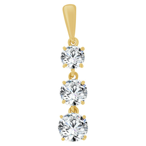 14k Yellow Gold, Three Round Cut Created CZ Crystals Dangling Pendant 6mm Wide (E126-017)