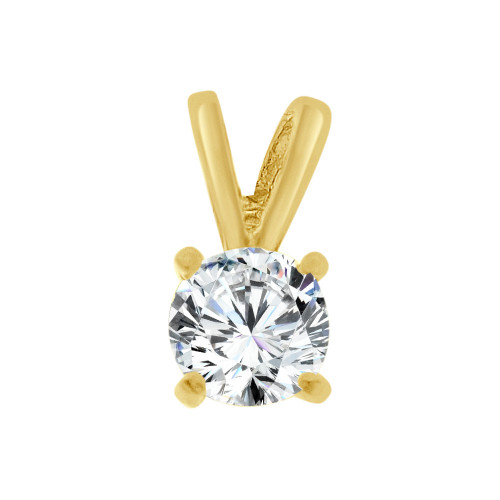 14k Yellow Gold, Solitaire Pendant 4mm Round Created CZ Crystal (E127-001)