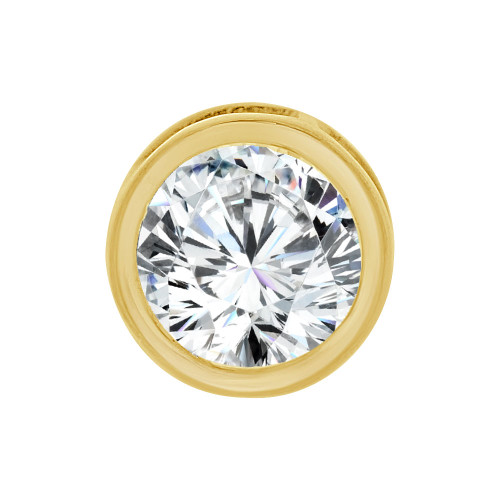 14k Yellow Gold, Bezel Solitaire Pendant 8.5mm Round Brilliant Cut Created CZ Crystal (E127-022)