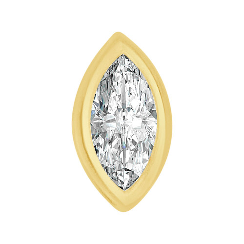 14k Yellow Gold, Bezel Solitaire Pendant 6.5mm Marquise Cut Created CZ Crystal (E127-024)